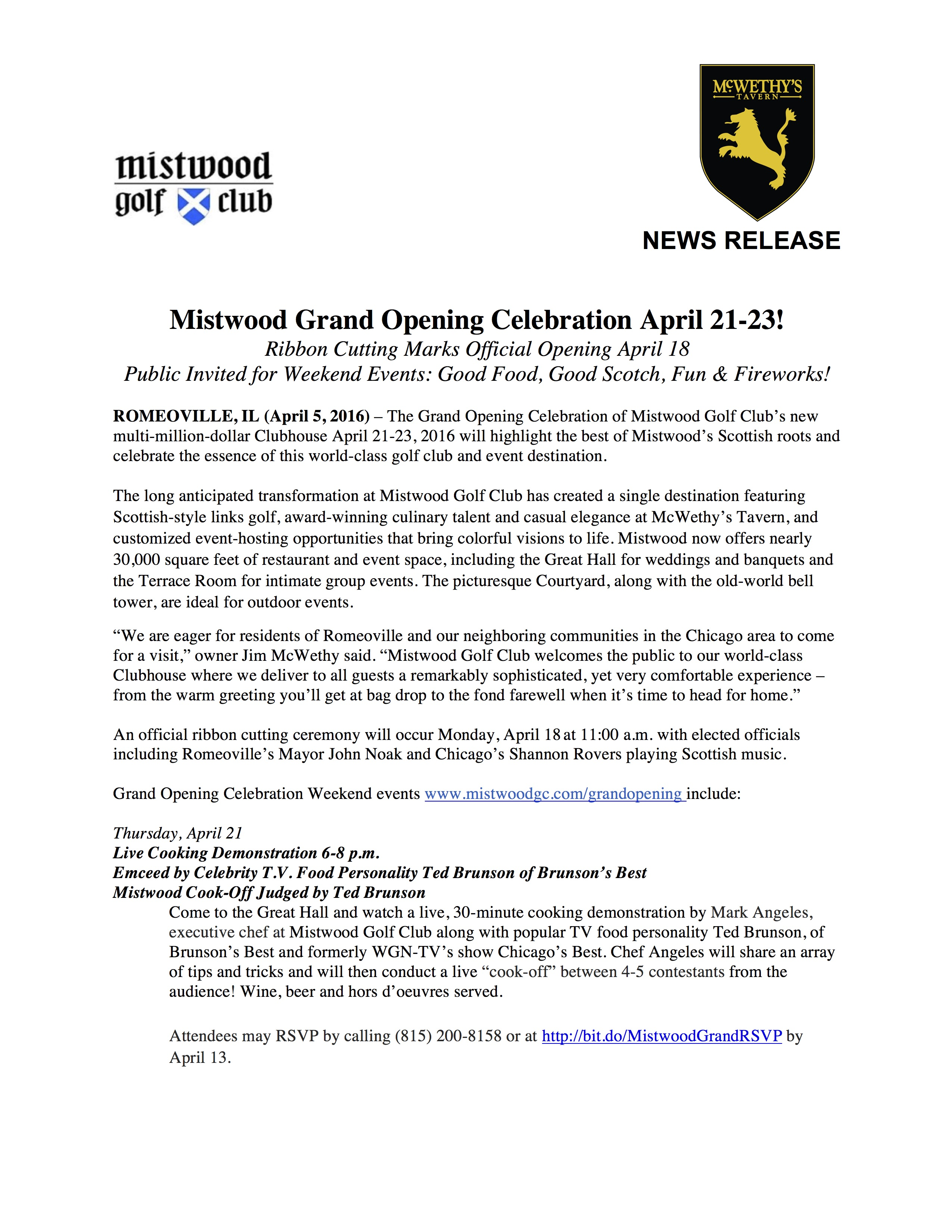 Mistwood and McWethys Grand Opening Celebration Release FINAL Updated 4 5 16